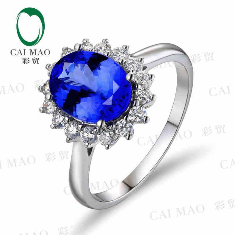 CaiMao 18KT/750 oro blanco 2,81 ct Natural si azul tanzanita AAA 0,5 ct corte completo diamante compromiso piedras preciosas anillo de la joyería