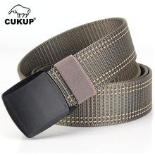 CUKUP Brand Name Designer Quality Striped Line Pattern Nylon Belts Thickened Plastic Buckle Male Accessories Belt Unisex CBCK075