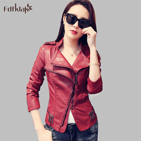 2016 New Fashion Autumn Winter Women Brand Faux Soft   Leather   Jackets Pu Black Zippers Coat Motorcycle Outerwear E0585