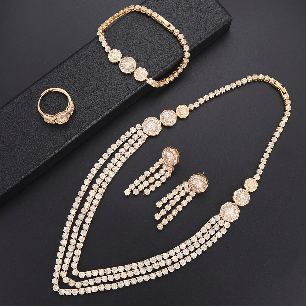 Missvikki ensembles de bijoux en or brillant zircon cubique collier Bracelet ensemble nigérian mariage perles africaines ensembles de bijoux bijoux Dubai