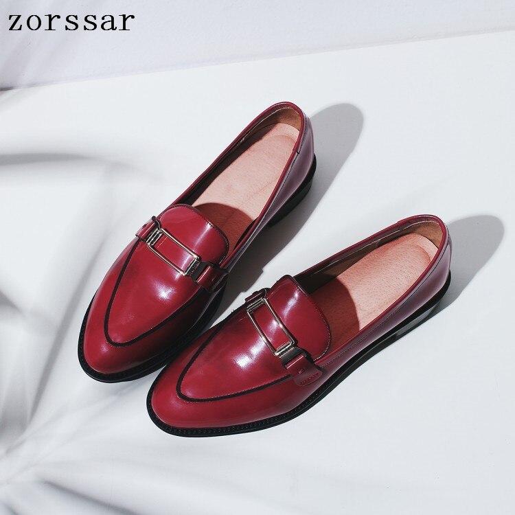 Véritable marron Sur rouge Robe Chaussures 2019 Slip Appartements Printemps Oxford Profonde Femmes Noir Plat Doux Nouveau Mocassins Femelle En Cuir Peu vYwqHRw