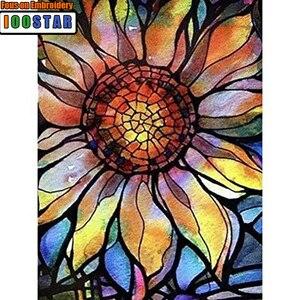 5D DIY Pintura Diamante do Ponto da Cruz de Girassol Mosaico De Vidro Manchado Completo Quadrado/Rodada Broca de Diamante Pintura Decoração de Casa Adesivo