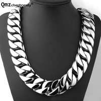 Qmzchentrendy 32MM 71CM Super Heavy Thick Mens Flat Round Curb Cuban Chain Necklaces Tone 316L Stainless Steel Hip hop Necklace