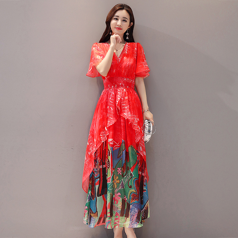 2019 women Summer dress Elegant Women Chiffon Print Bohemian Beach Dress Maxi Dress V-neck Casual Loose Plus size Dress Female 6