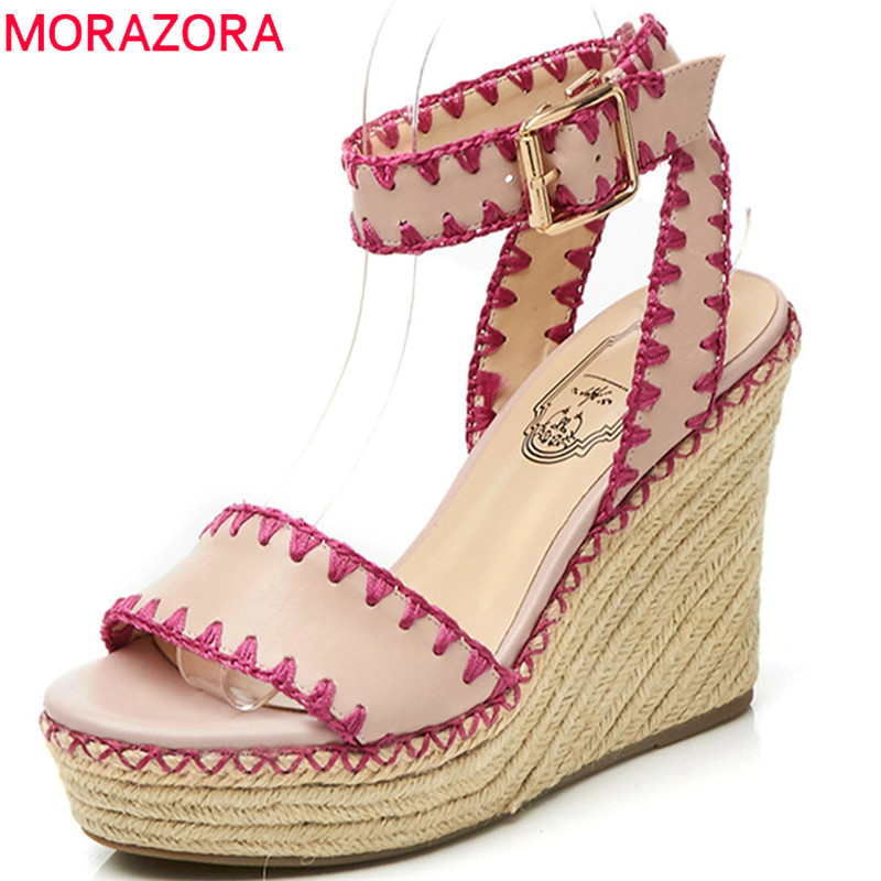 MORAZORA 2018 new arrival women sandals mixed colors fashion shoes simple buckle genuine leather shoes wedges high heels shoes 2018 mixed colors wedges high heels real horsehair medium heels genuine leather women pumps fashion sexy high heel shoes sc 419
