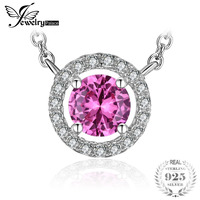 JewelryPalace Round 1 2ct Created Pink Sapphire 925 Sterling Silver Pendant Necklace 18 Inches Fine Jewelry