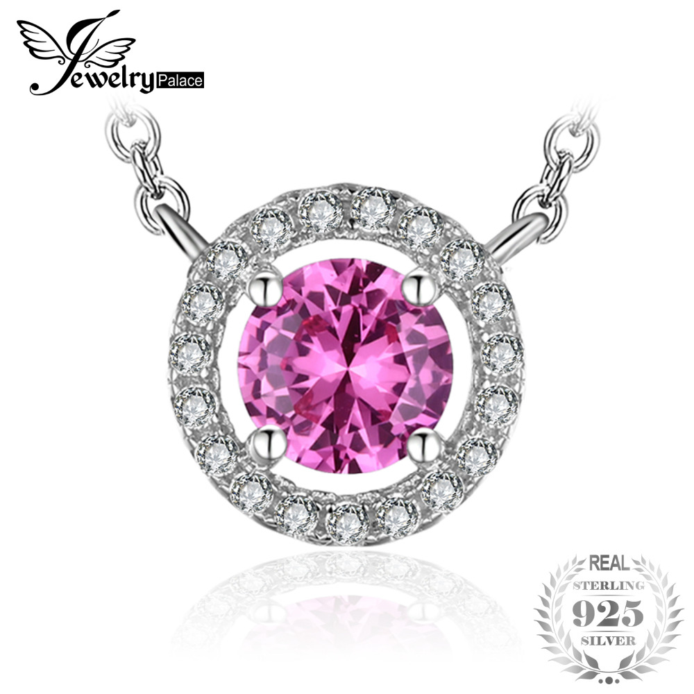 JewelryPalace Round 1.2ct Created Pink Sapphire 925 Sterling Silver Pendant Necklace 18 Inches Fine Jewelry For Women On SaleJewelryPalace Round 1.2ct Created Pink Sapphire 925 Sterling Silver Pendant Necklace 18 Inches Fine Jewelry For Women On Sale