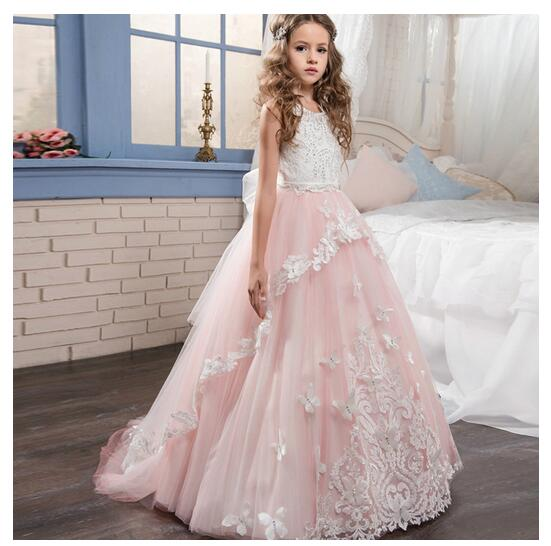 Girls Formal Dress 2017 Sleeveless Flower Girls Dresses Kids Long Party Lace Gauze Birthday Ball Gown Children's Wedding Dress парфюмерный набор bvlgari goldea the roman night п в 50 мл п в 15 мл