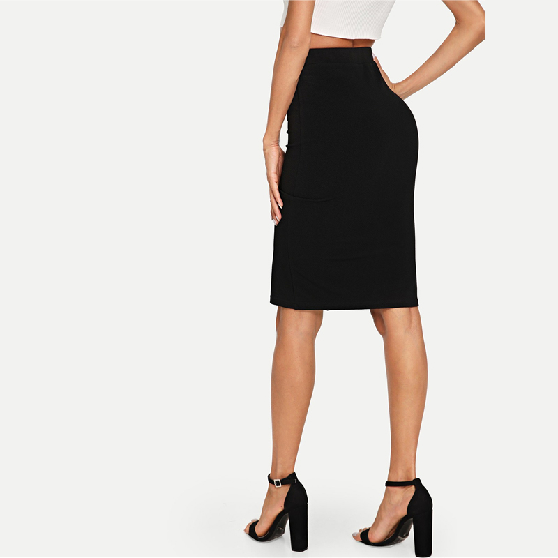 COLROVIE Black Solid Work Button Front Elegant Bodycon Style Pencil Skirt Vintage 2018 Autumn Women Skirts Classic Midi Skirts 5
