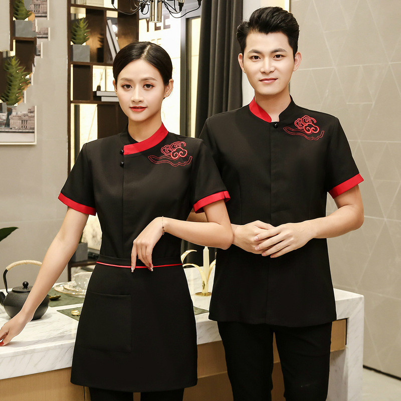 Hotel Waiter Uniform Men And Women Short Sleeve Work Uniforms Hotel Restaurant Kitchen Chef Clothing Chinese Style Work Overall