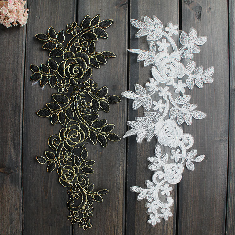 1Pair 38X18cm Wonderful Lace Collar Embroidered Bridal Dress Wedding Decorative Sewing Lace Applique Trim Craft TT37 in Lace from Home Garden