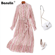 Banulin 2019 Runway Summer Dresses Womens lantern Sleeve Leopard Floral Print Chiffon Vacation Party Female Vestdios
