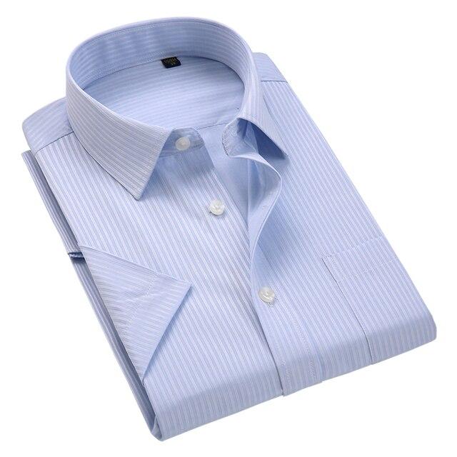 2019 קיץ אופנה קצר שרוול פסים חולצות Mens ללא ברזל רגיל fit שמלת חולצה מזדמן עסקית רשמית