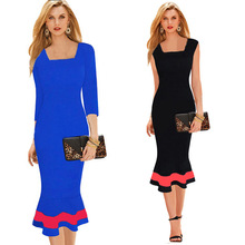 Ankle-length New Arrival Three Quarter Women Business Work Sheath Bodycon Summer Dress Contrast Color Dress