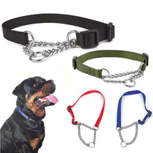 Misterolina Nylon Dog Collar With Welded Link Chain Pet Collars Dogs Training Accessories Adjustable Size Necklace Hot