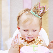 Baby Boy Girl First 1st Birthday Party One Three Eighteen Years Old Crown Pattern Children Hair Band Headband Prince Hat 6C1073(China)