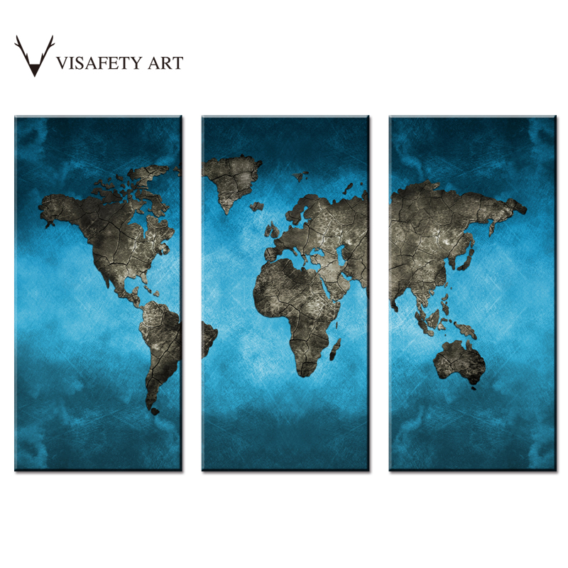 Aliexpress Com Buy World Map Canvas 3 Piece Abstract