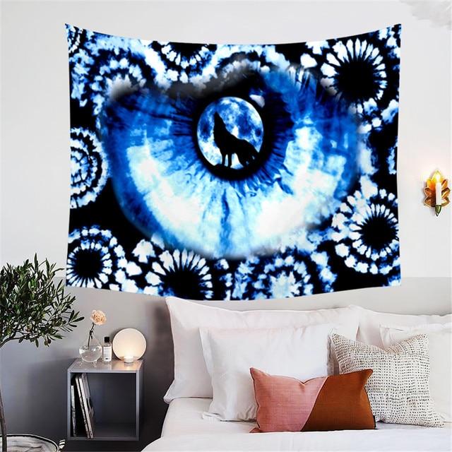 BlessLiving Tie Dye Tapestry Indigo Blue Eye Of The Wolf Wall Hanging Bohemian Mandala Home Decor For Bedroom Living Room Dorm