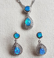 Pretty Drop Shape Blue / Pink / White Fire Opal Jewelry Set for Women