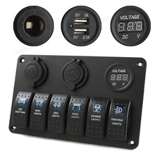 New 6 Gang LED Rocker Switch Panel Circuit Breakers Charger 12V 24V for Boat Marine
