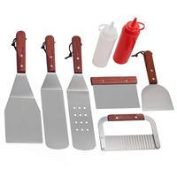 Stainless Steel Frying Shovel Set Western Steak Pizza Shovel Plus Salad Ketchup Bottle Spatula Set BBQ Tool Kitchen Accessories