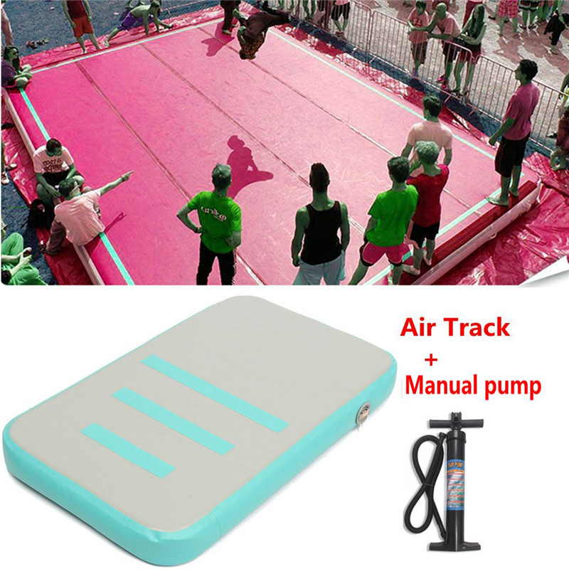 Cyan Inflatable Gymnastic Gym Cheerleading Air Track Floor Tumbling Rolling Trainning Gym Mat + Pump free shipping 8x2m factory supply inflatable tumbling air track factory gymnastic gym mat