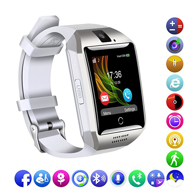 MOCRUX Q18 Passometer Smart watch with Touch Screen camera Support TF card Bluetooth smartwatch for Android IOS Phone PK DZ09