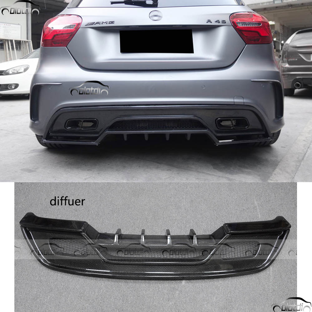 for Mercedes Benz W176 AMG A45 2014-2017 REVOZPORT Style Car Styling Carbon Fiber Rear Lip Bumper Diffuser Splitter mercedes w176 carbon fiber rear bumper canards for benz a class a45 amg package 2012 rear air dam trimming