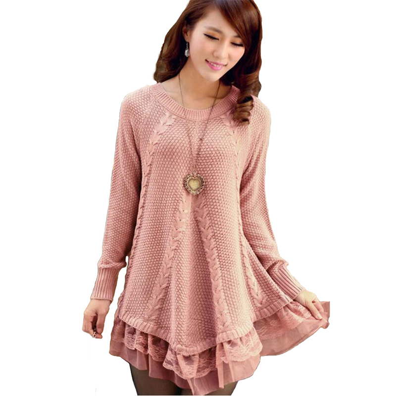 New Knitted Sweaters Women Autumn Winter Lace Stitching Hem Pullover Sweaters Female Twist Loose Sweaters Long Sleeve Coat H738