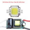 10W Natural White 4500K Cool white 10000K 20000K 3000K LED Chip Lamp Light +Non-Waterproof AC110-220V Or DC12V-24V LED Driver
