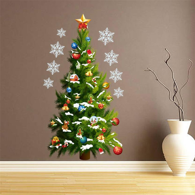 2018 Merry Christmas Tree Wall Sticker Snowflake Decal Green