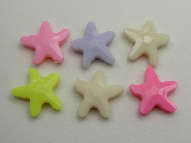 50 mixed pastel color acrylic sea star starfish beads charms 20mm