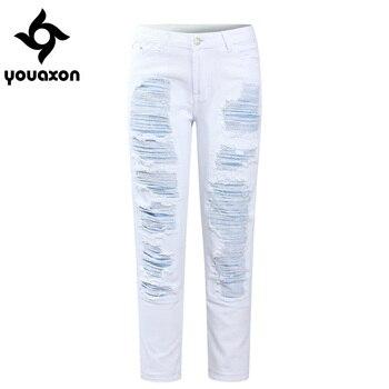 Youaxon 2094 vaqueros cortos blancos rectos de retales para novio, pantalones vaqueros rasgados de cintura media, pantalones vaqueros para mujer, pantalones vaqueros Capris