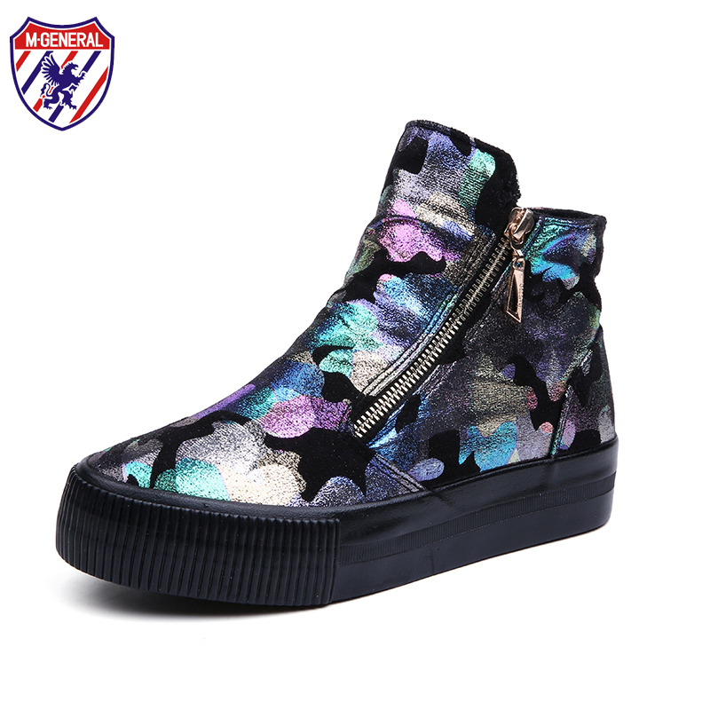 M GENERAL 2016 New Arrival Spring Style Women Fashion Canvas Casual Shoes Zip Graffiti Zapatos Mujer