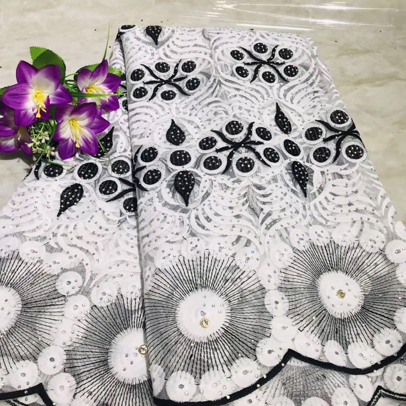 (5yards/pc) black white embroidered African tulle lace fabric latest French net lace fabric with stones for party dress FLV79(5yards/pc) black white embroidered African tulle lace fabric latest French net lace fabric with stones for party dress FLV79