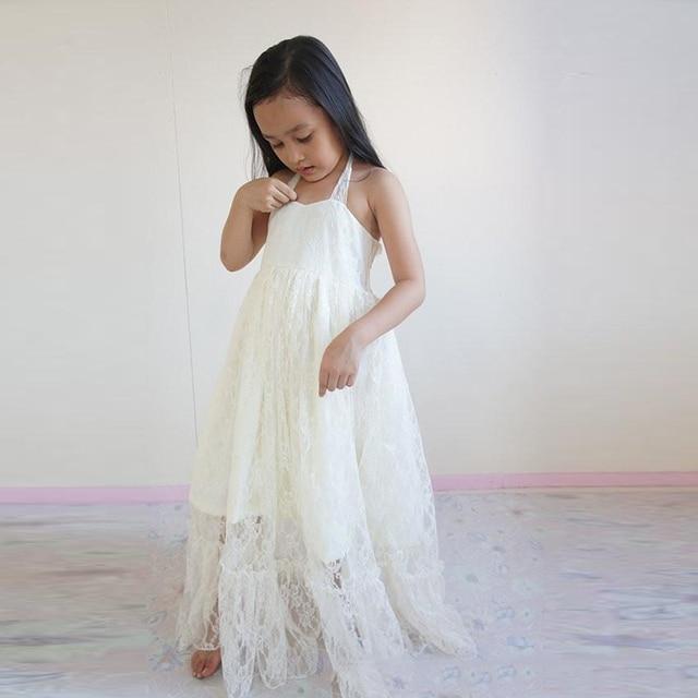 Lovely Full Lace Halter Flower Girl Dresses For Beach Wedding White