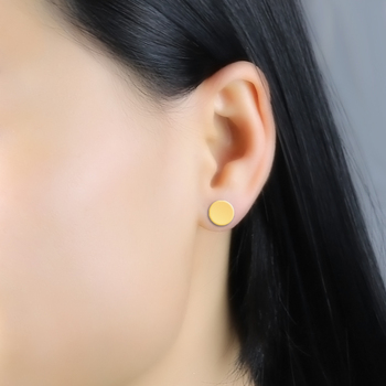 Innopes Fashion Punk Men woman Black Stud Earrings Double Sided Round Earrings Male Gothic Barbell gold Earrings Jewelry Gifts 1