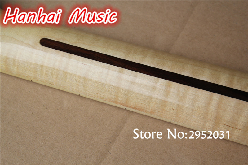 High Quality Semi Finished Guitar Neck Made From Flame Maple Abalone Fret Marks Inlay 21 Frets Can Be Customized As Request In Parts Accessories