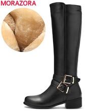 MORAZORA 2020 nouvelle mode chaussures femme bout rond fermeture éclair automne hiver bottes talons carrés couleurs solides genou bottes hautes femmes