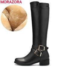Morazora 2020 Mới Thời Trang Phụ Nữ Mũi Tròn Dây Kéo Thu Đông Giày Bốt Gót Vuông Chắc Chắn Màu Sắc Đầu Gối Cao Giày Nữ