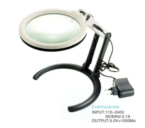 2X 5X Hands Free LED Illuminated Magnifier Loupe With 10 LED Lights 120mm Lens Magnifying Glasses