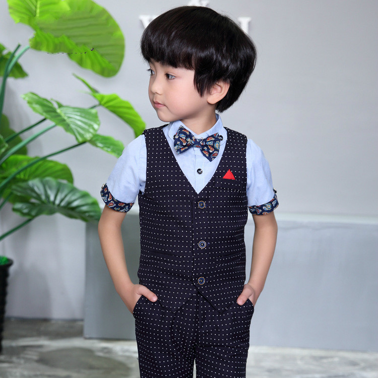 6b2435610 Baby Boys Suit Jackets 2018 New Cotton Dot Vest Shorts 2 Piece Kids ...