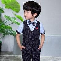 Baby Boys Suit Jackets 2018 New Cotton Dot Vest Shorts 2 Piece Kids Suits Boy Wedding
