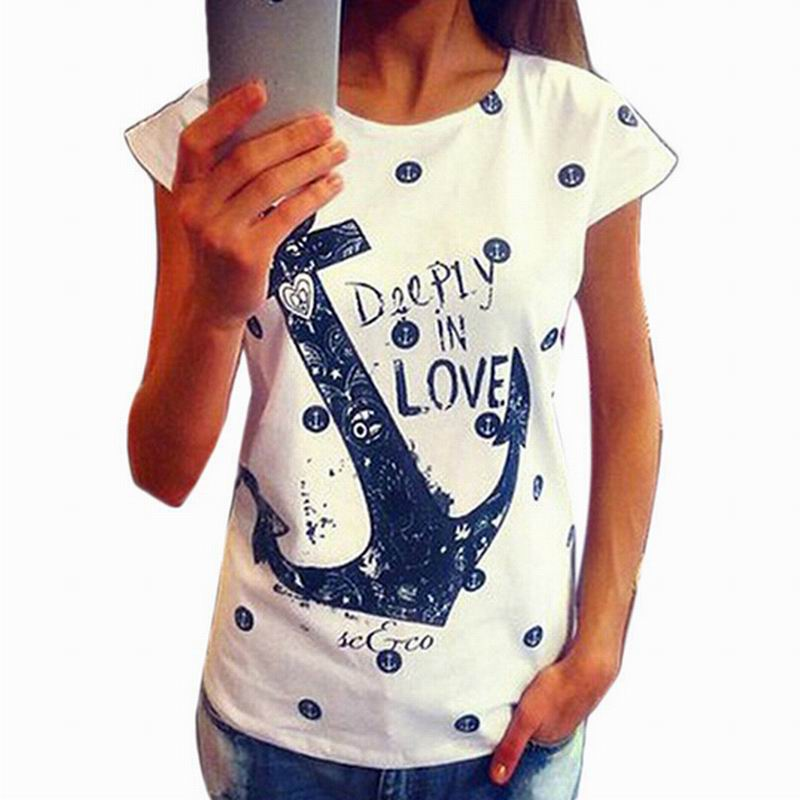 Fashion Summer Anchor Pattern T Shirt Women Letter...