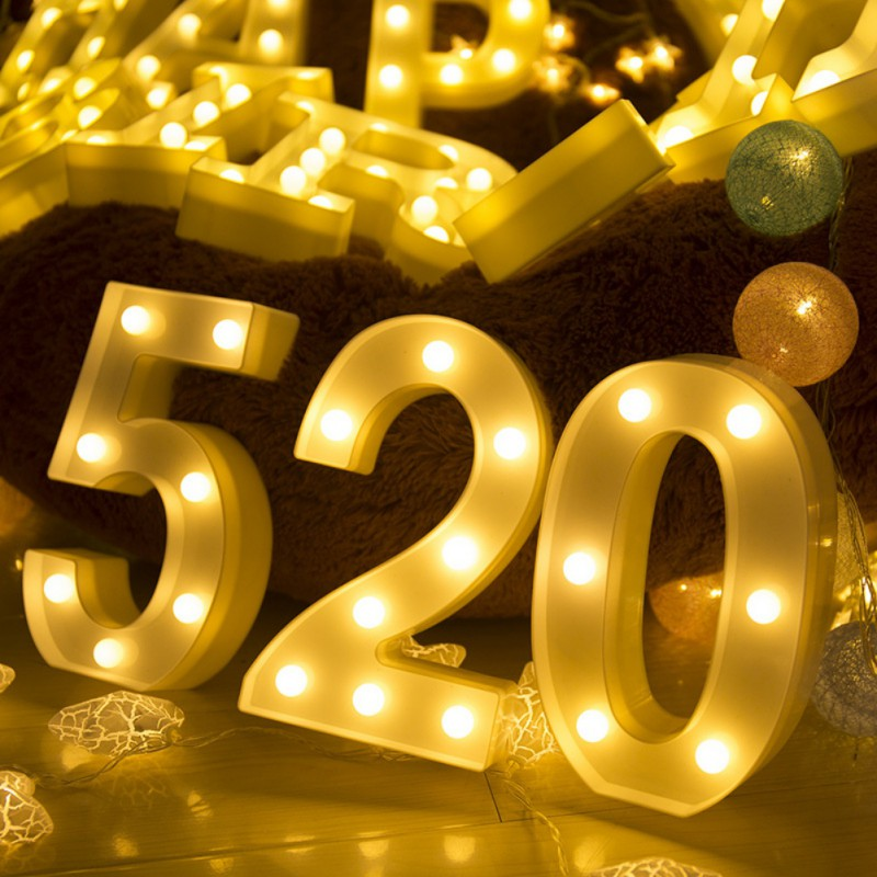 LED Marquee Number Lights DIY Light Up Marquee Numbers Sign Night Light Battery Powered For Festival Wedding