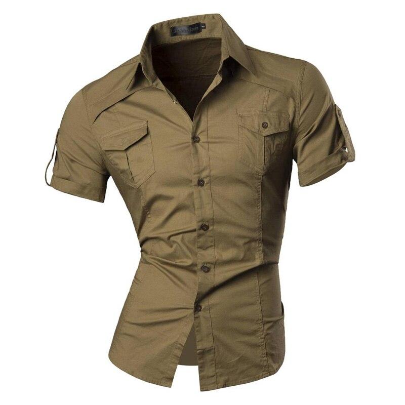 jeansian Men's Summer Short Sleeve Casual Dress Shirts Fashion Stylish 8360 4