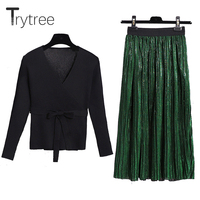 Trytree Women Autumn two piece set Casual Fashion tops + skirt Top V neck Office Polyester Solid Suit Set Pullover 2 Piece Set