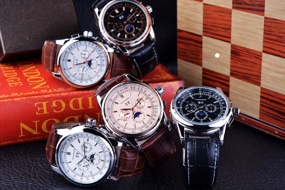 HTB1qcPva5FTMKJjSZFAq6AkJpXaX Forsining Moon Phase Shanghai Movement Rose Gold Case Brown Genuine Leather Strap Mens Watches Top Brand Luxury Auotmatic Watch