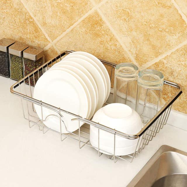 US $21 15 18% OFF|JILIDA Adjustable Over Sink Dish Drying Rack Stainless  Steel Kitchen Storage Basket Drain Holder Fruit Rustproof Home Organizer-in