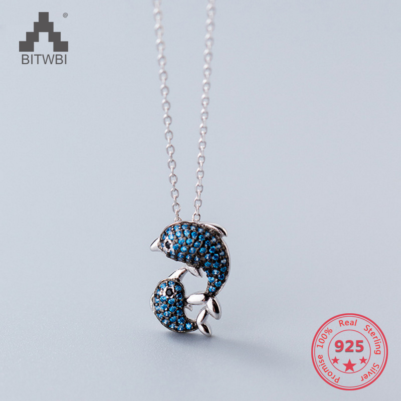 Hot Style S925 Sterling Silver Simple Cute Tiny Blue Dolphin Whale Pendants Necklace Set Daily Girlfriend Gift